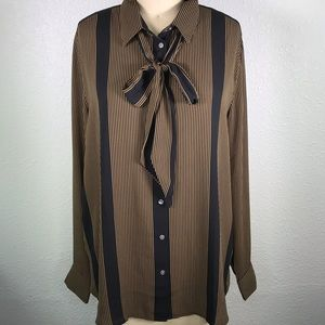 Loft Stripes Bow Neck Shirt